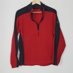 Mountain Hardware Fleece Quarter Zip Red Gray M